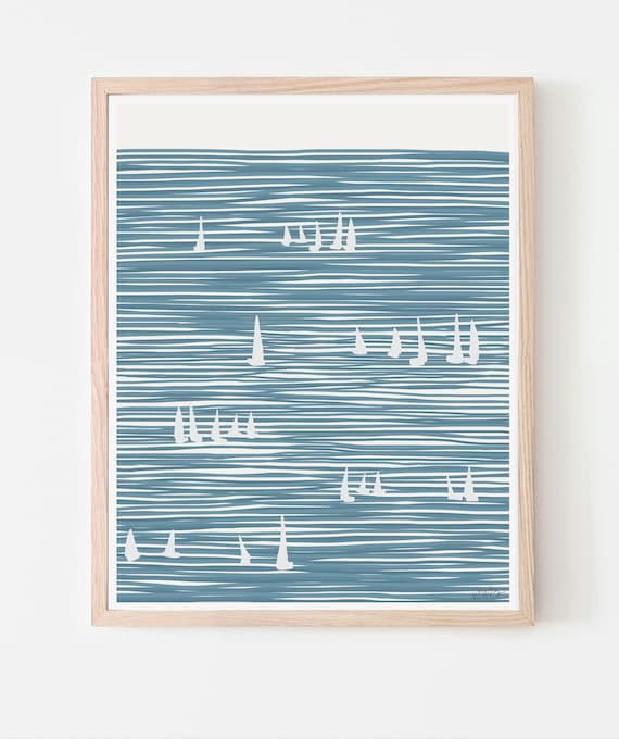 Sailboats Art Print. Available Framed or Unframed. Multiple Sizes. 140324.