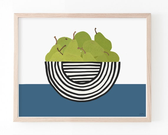 Still Life with Pears in Striped Bowl Art Print. Available Framed or Unframed. Multiple Sizes. 210125.