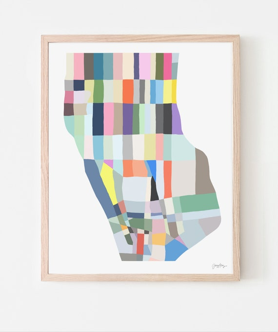Abstract Map Art Print. Downtown Manhattan. Multiple Sizes. Available Framed or Unframed. 190126.