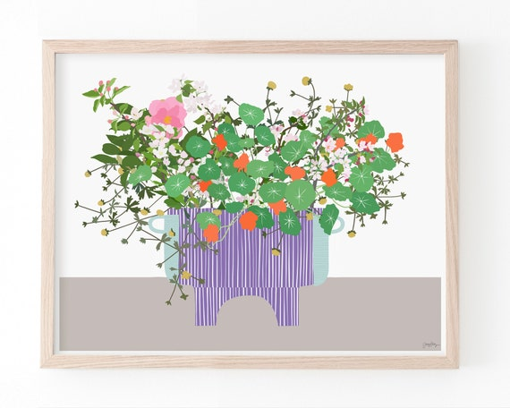Still Life with Flowers in Purple Vase Art Print. Available Framed or Unframed. 210401.