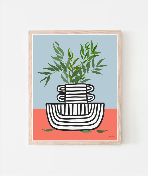 Still Life with Willow Branches in Striped Vase Art Print. Signed. Framed or Unframed. Multiple Sizes. 210102.