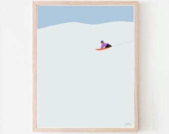 Sledding in the Snow Art Print. Signed. Available Framed or Unframed. 160223.