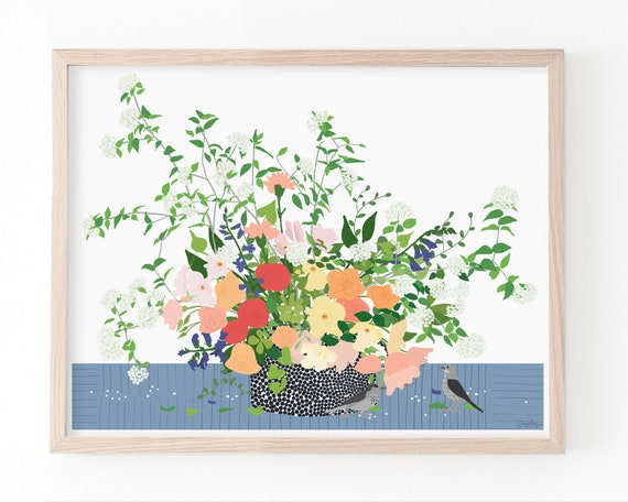 Still Life with Flowers and Birds Art Print. Available Framed or Unframed. 200617.