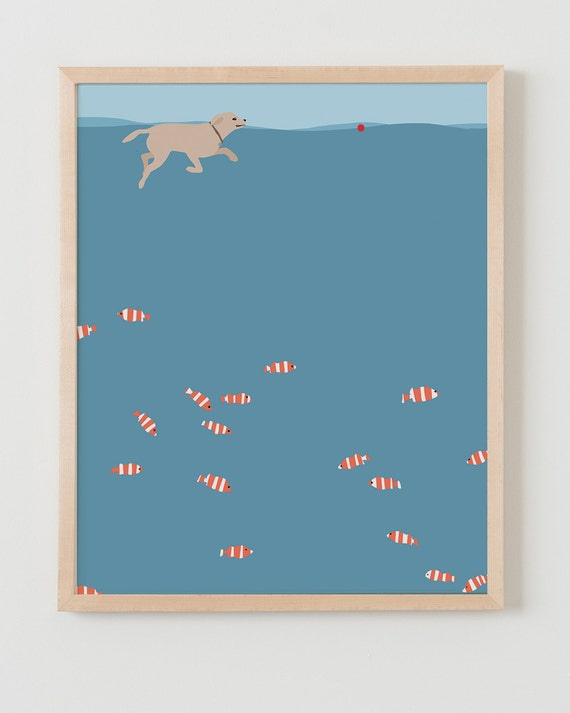 Fine Art Print. Dog Swimming in Ocean. Available Framed or Unframed.