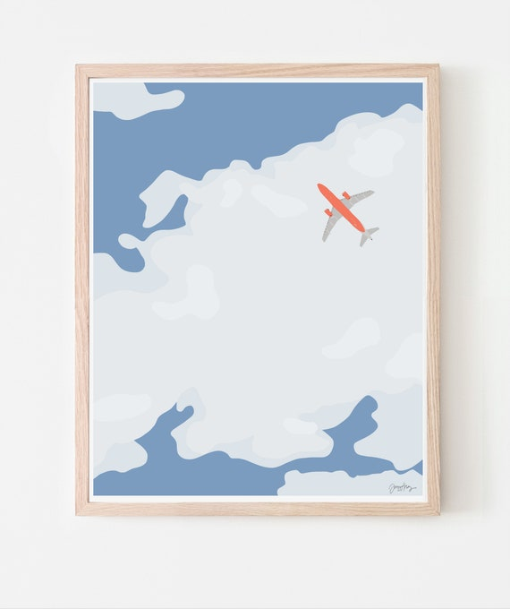 Sky with Airplane and Clouds Art Print. Available Framed or Unframed. 140116.