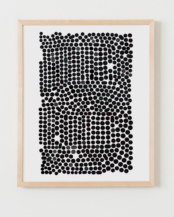 Fine Art Print.  Abstract with Black and Charcoal Dots, June 23, 2020.