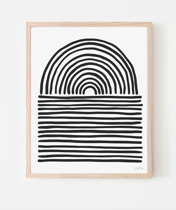 Abstract Art Print with Black Stripes. Available Framed or Unframed. 200221.