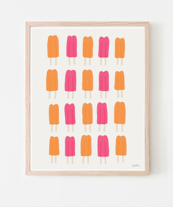 Pink and Orange Popsicles Art Print. Available Framed or Unframed. 110930.