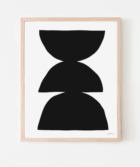 Abstract Art Print with Black Shapes. Multiple Sizes. Available Framed or Unframed. 200730.