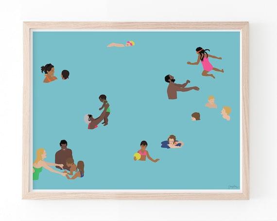 Families in Swimming Pool Art Print. Multiple Sizes. Framed or Unframed. 160503.