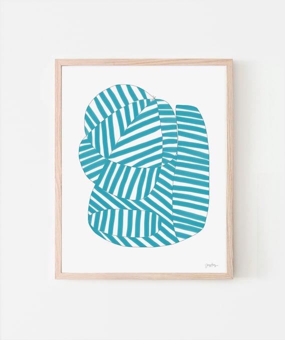 Turquoise Stripe Art Print. Available Framed or Unframed. 170814.