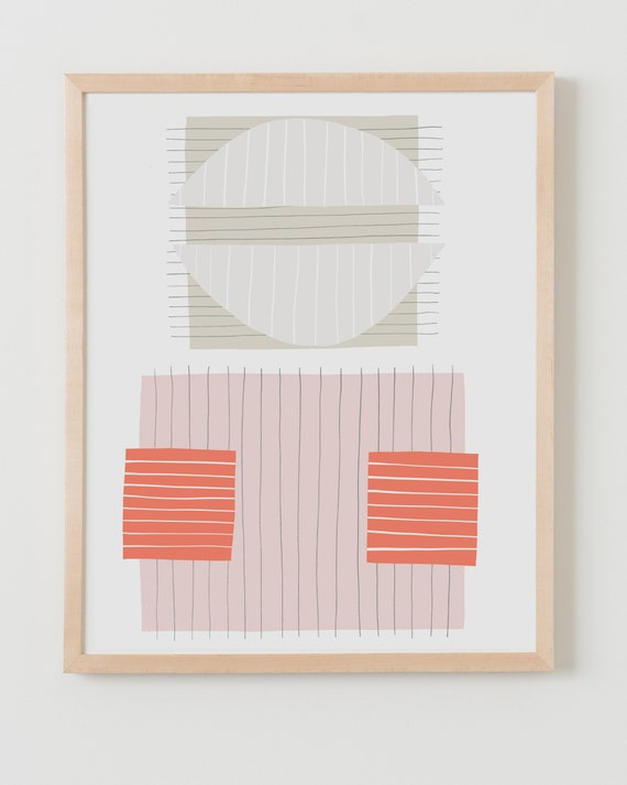 Fine Art Print.  Abstract with Pink and Orange. Available Framed or Unframed.