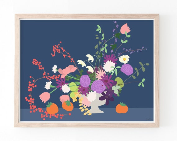 Still Life with Flowers Art Print. Available Framed or Unframed. 191116.