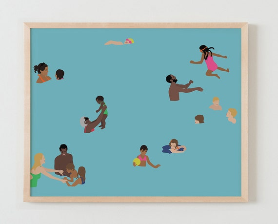 Fine Art Print.  Families in Swimming Pool, May 3, 2016.