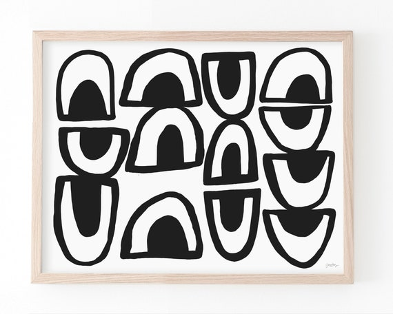 Abstract with Black Shapes Art Print. Available Framed or Unframed. 210213.