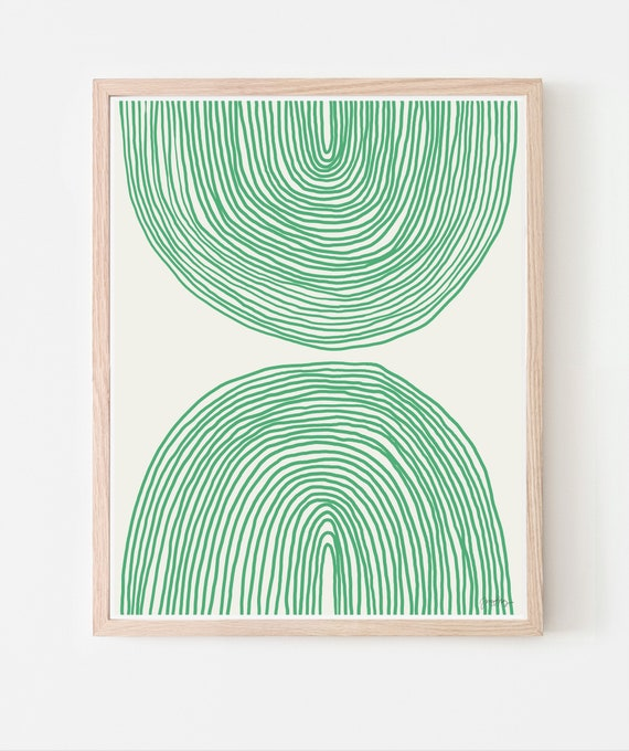 Abstract Art Print with Green Lines. Framed or Unframed. Multiple Sizes Available. 160214.