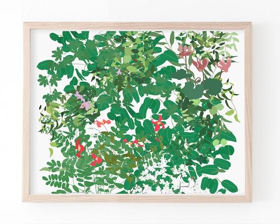 Leaves, Vines, and Flowers Art Print. Available Framed or Unframed. Multiple Sizes. 210509.