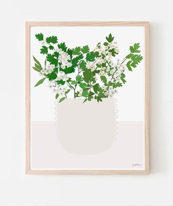 Still Life with White Hawthorn Blossoms in Vase Art Print. Available Framed or Unframed. Multiple Sizes. 201107.
