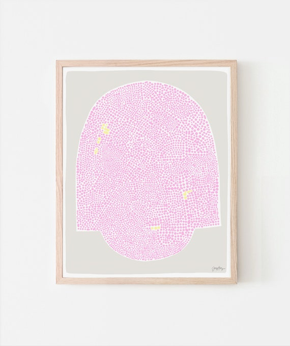 Abstract Art Print with Pink Dots. Signed. Available Framed or Unframed. 190926.