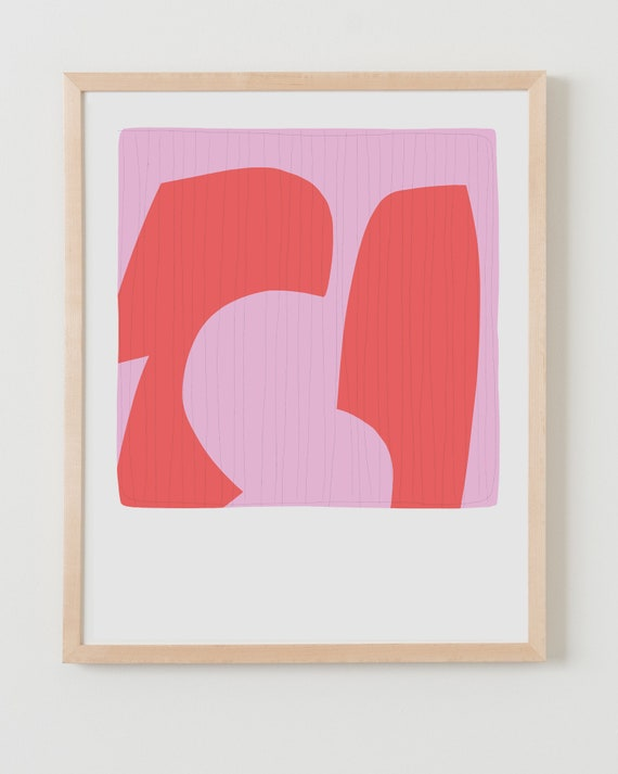 Fine Art Print.  Abstract with Pink and Red, March 9, 2019.