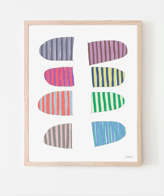 Abstract Art Print with Stripes. Available Framed or Unframed. Multiple Sizes. 171007.