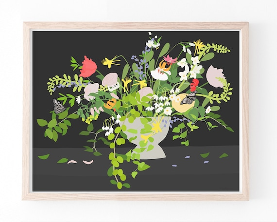 Still Life with Flowers Art Print. Available Framed or Unframed. 200110.