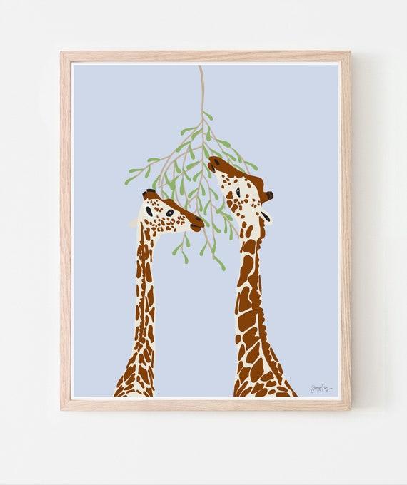 Giraffes Art Print. Available Framed or Unframed. Multiple Sizes. 130116.