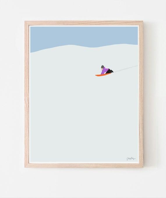 Sledding in the Snow Art Print. Available Framed or Unframed. 160223.