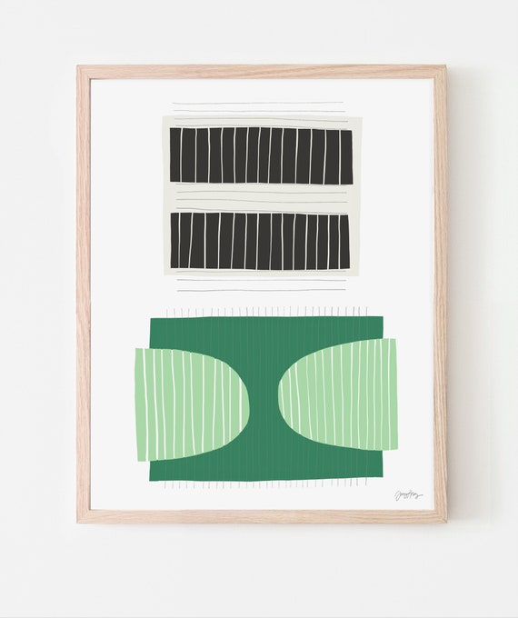 Abstract Art Print with Black and White and Green. Available Framed or Unframed. Multiple Sizes. 190710.