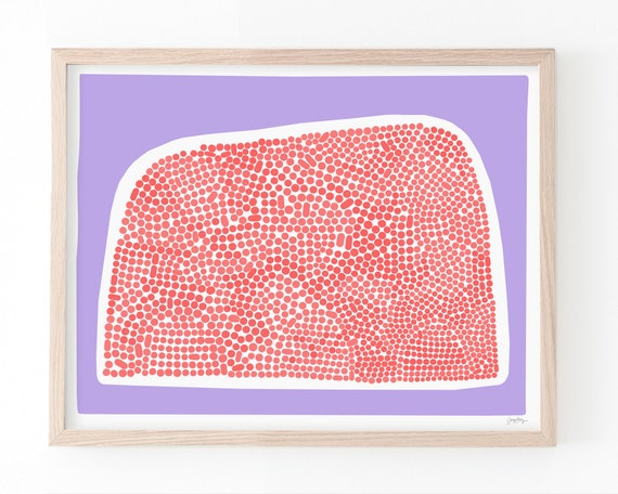 Abstract Art Print with Red Dots and Purple Background. Available Framed or Unframed. 200206.