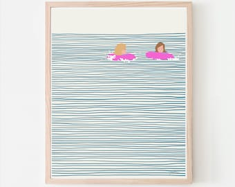 Girls in Pink Floaties Art Print. Signed. Available Framed or Unframed. 130809.