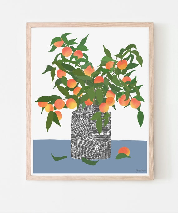 Still Life with Peach Fruit Tree Branches in a Vase Art Print. Available Framed or Unframed. 200323.