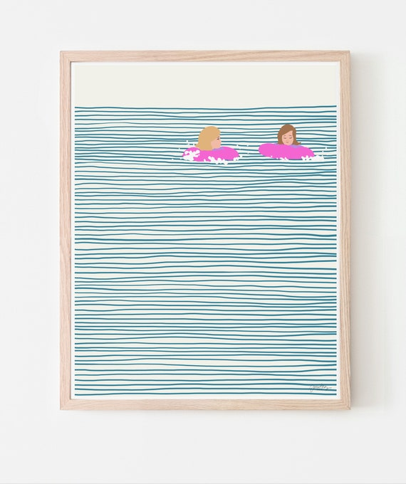 Girls in Pink Floaties Art Print. Available Framed or Unframed. 130809.