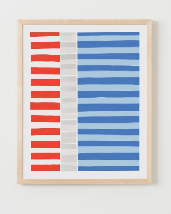 Fine Art Print. Colorblock Stripes Orange and Blue. Available Framed or Unframed.