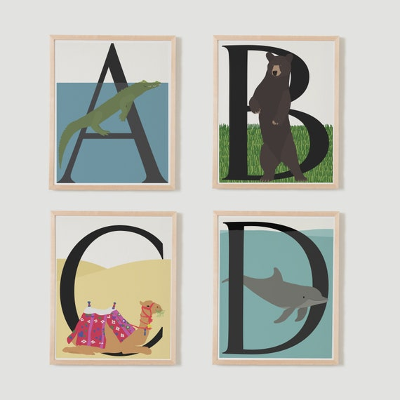Animal Alphabet Print. Individual Letters A to Z. Available Framed or Unframed.