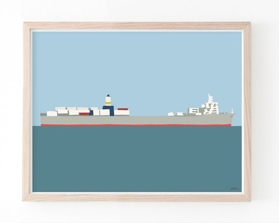 Container Ship Art Print. Available Framed or Unframed. 150126.