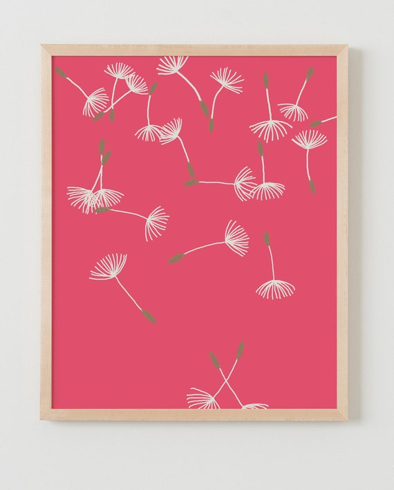 Fine Art Print. Dandelion Puffs Scattered on Red. Available Framed or Unframed.