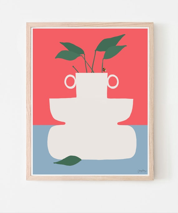 Still Life with Bee and White Vase on Red and Blue. Art Print. Available Framed or Unframed. 201021.