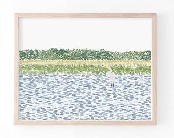 Egret Wading in the Marsh Art Print. Signed. Available Framed or Unframed. 210806.