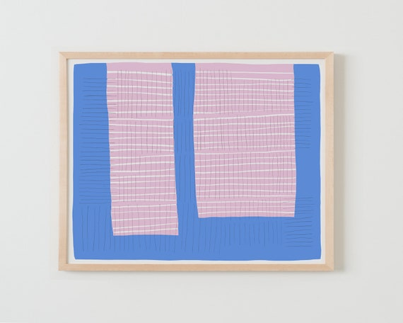 Fine Art Print.  Abstract Colorblock with Pink and Blue. Available Framed or Unframed.