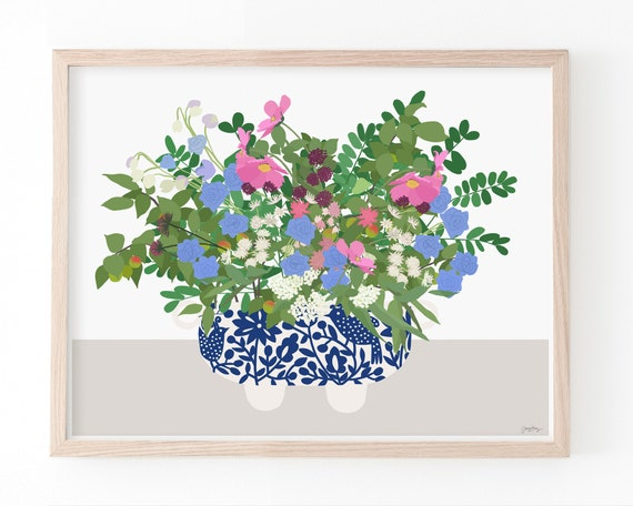 Still Life with Flowers and Blue and White Vase. Art Print. Available Framed or Unframed. 201017.
