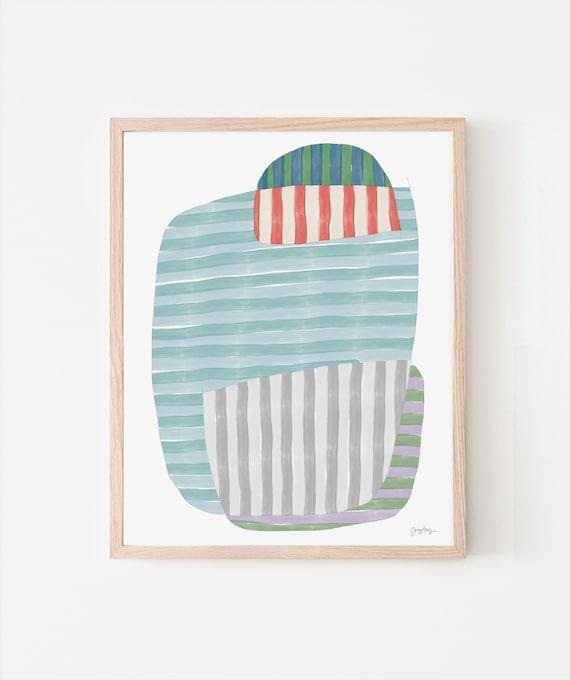 Multicolor Stripes Art Print. Signed. Available Framed or Unframed. 170914.