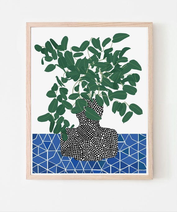 Still Life with Tropical Plant Art Print. Available Framed or Unframed. 200514.