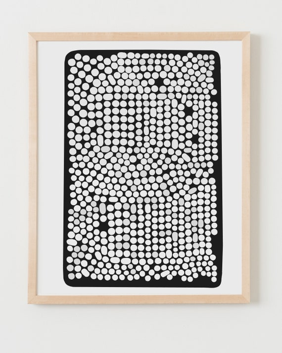 Fine Art Print. Black and White Abstract with Dots. Available Framed or Unframed.