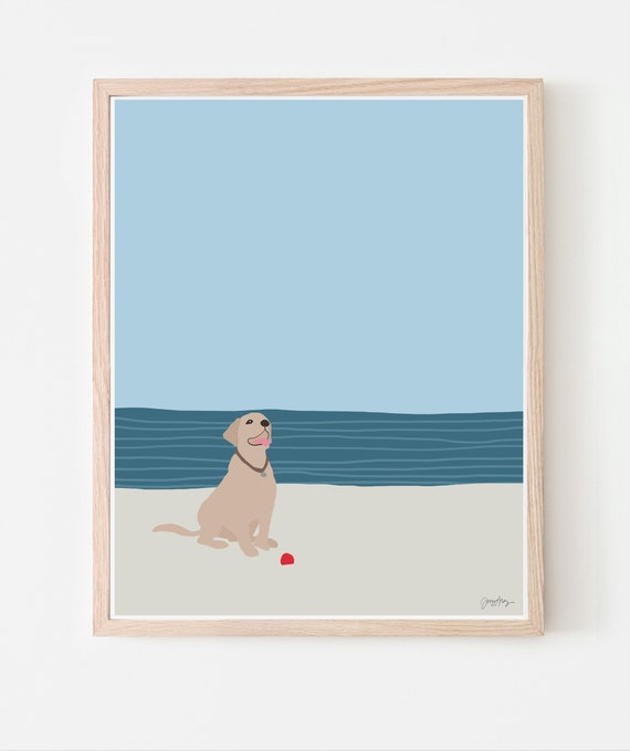 Dog with Ball at Beach Art Print. Framed or Unframed. Multiple Sizes Available. 160522.