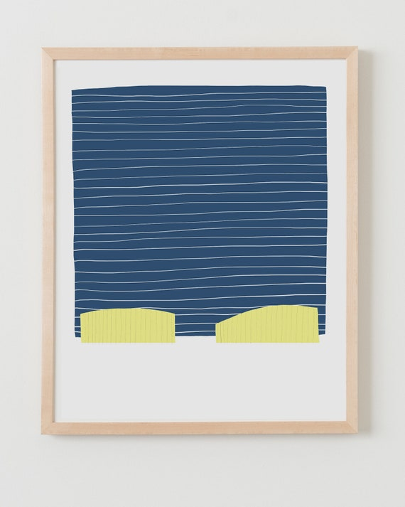Fine Art Print.  Abstract with Navy Blue Stripes. Available Framed or Unframed.