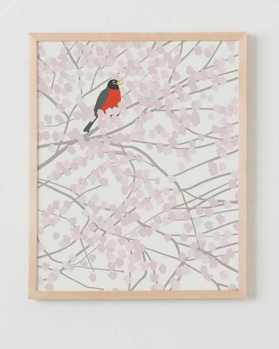 Fine Art Print.  Robin in Tree with Cherry Blossoms.  February 12, 2014.