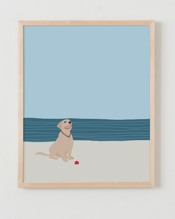 Fine Art Print. Dog with Ball at Beach. Available Framed or Unframed.