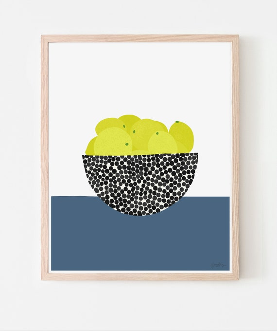 Still Life with Lemons in a Fruit Bowl Art Print. Available Framed or Unframed. Multiple Sizes. 200618.