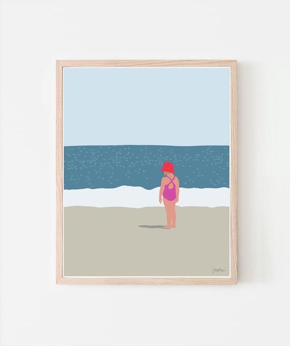 Girl Standing at Beach Art Print. Signed. Available Framed or Unframed. 130718.